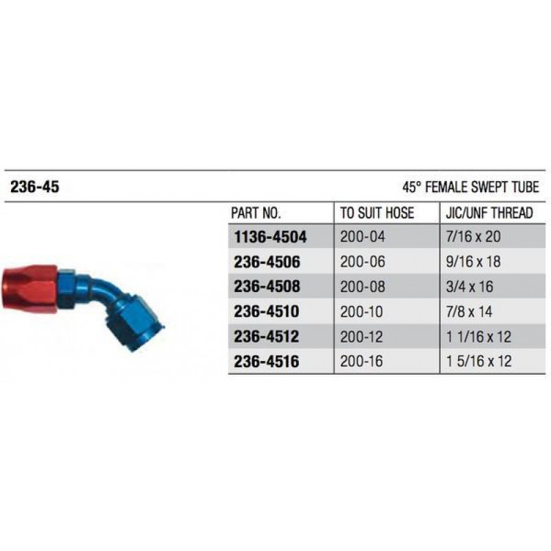 200 Series 45° Swept Cutter Fitting
