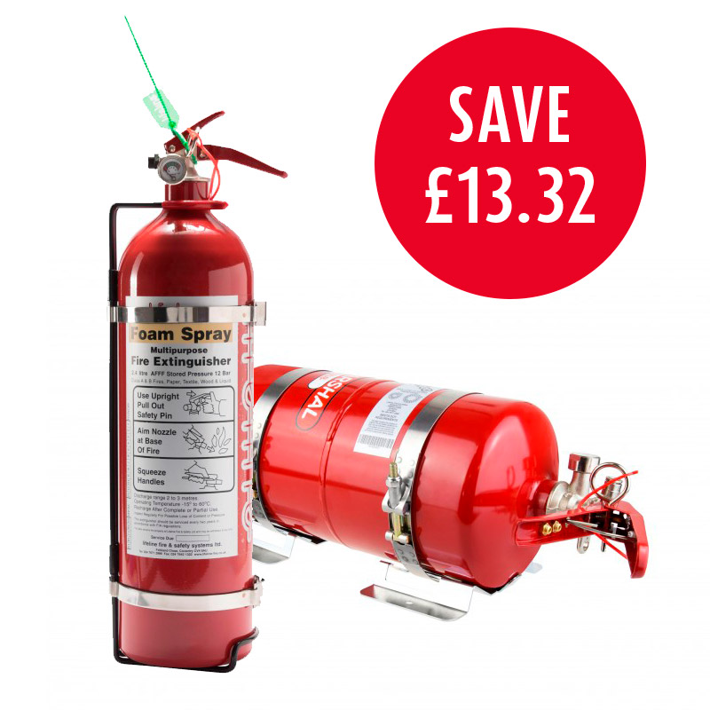 Rally Pack Lifeline 2000 FIA 4 litre Fire Marshal Mechanical Steel with 2.4 Handheld